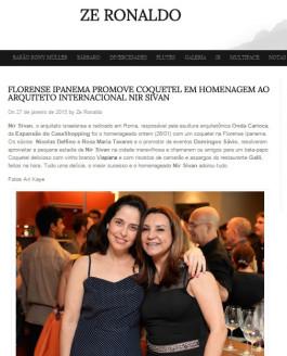 Ze Ronaldo (Rio De Janeiro) : FLORENSE IPANEMA PROMOVE COQUETEL EM HOMENAGEM AO ARQUITETO INTERNACIONAL NIR SIVAN
