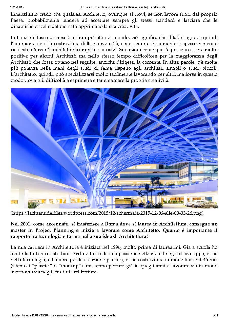 15 Architetti Famosi la città nuda: arch. nir sivan between israel, italy and